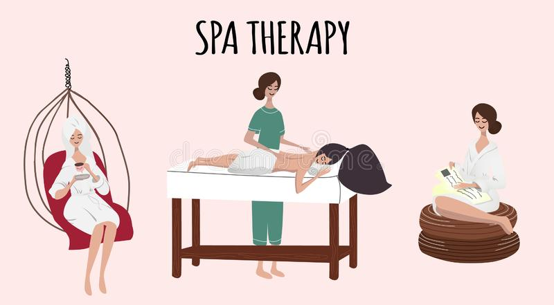 Set of women or girls on spa procedures. Flat girls relaxing after spa, girl is lying at the table on Thai massage. royalty free illustration