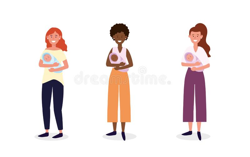 Set women mother with their babies son. Vector illustration stock illustration