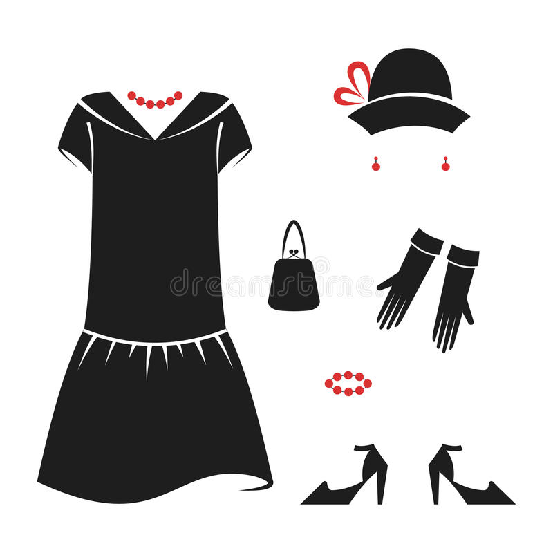 Set of women`s casual clothes of the 1920s. Retro fashion vector illustration isolated on white background vector illustration