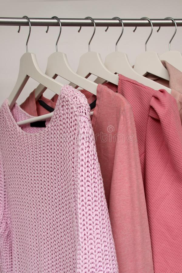 Set of women`s clothing of pink color in different colors on hangers, a concept for fashion and shopping, vertical royalty free stock image