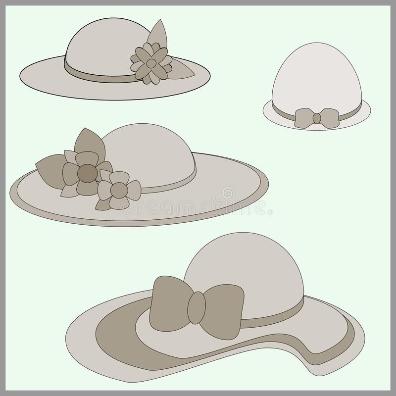 Set of women`s hats stock illustration
