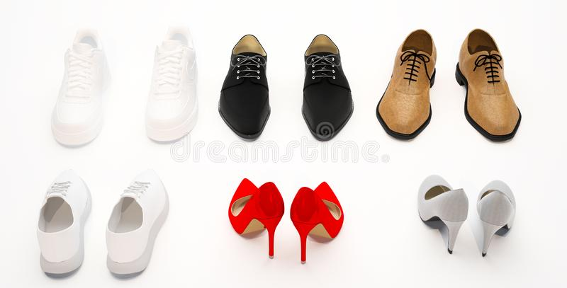 Set of women`s and men`s shoes. Beige and red female shoes. White  women`s and men`s sneakers.  Black and brown men`s shoes. Women stock photo