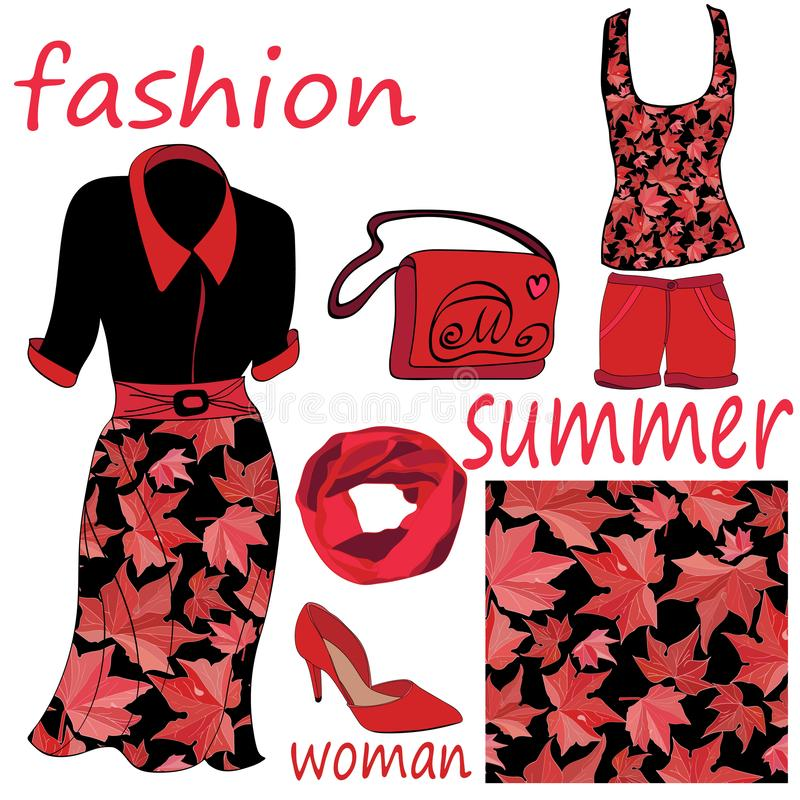 A set of women`s summer fashion items and a seamless pattern of red leaves on a black background vector illustration