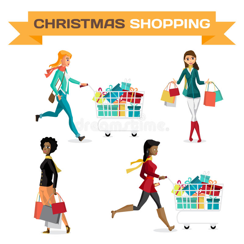 Set Of Women With Shopping Bags On Black Friday Stock ...