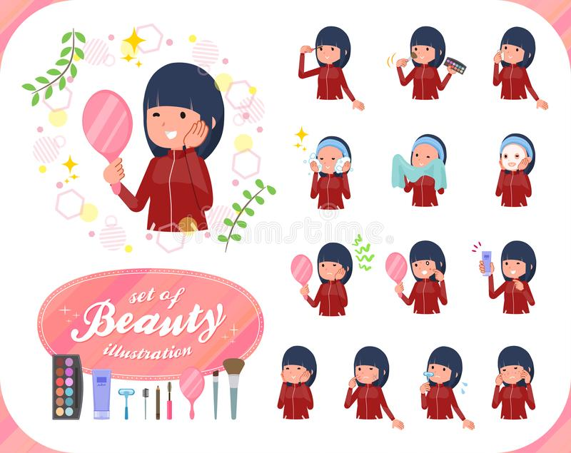 A set of women in sportswear on beauty.There are various actions such as skin care and makeup.It`s vector art so it`s easy to ed. It vector illustration