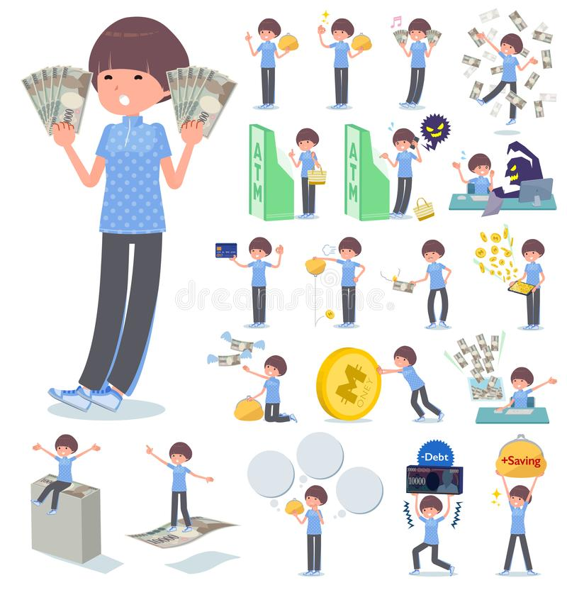 A set of women in sportswear with concerning money and economy.There are also actions on success and failure.It`s vector art so i. T`s easy to edit vector illustration