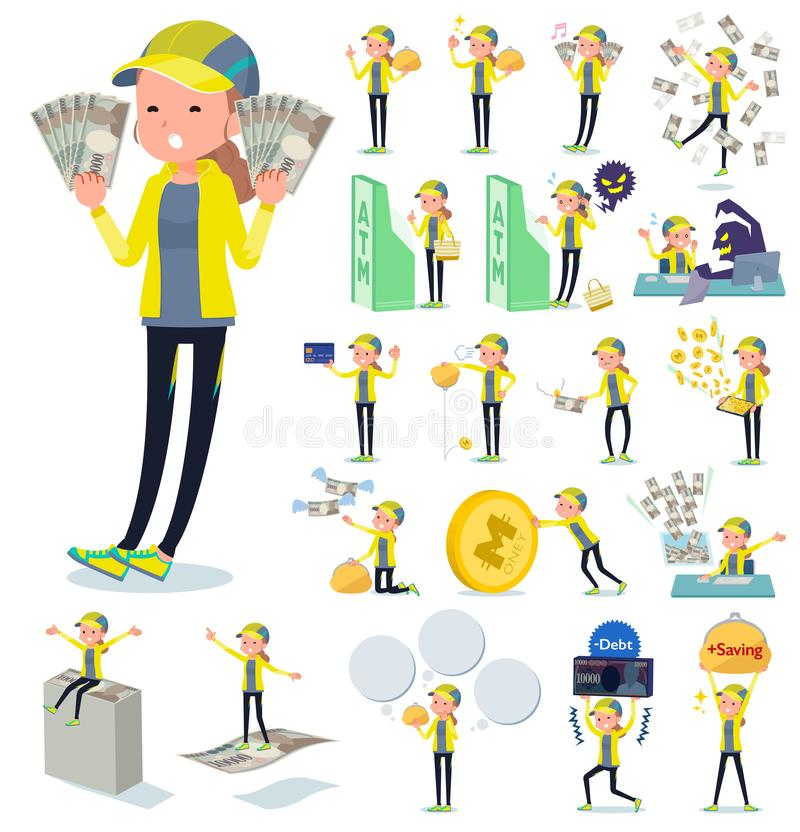 A set of women in sportswear with concerning money and economy.There are also actions on success and failure.It`s vector art so i. T`s easy to edit stock illustration