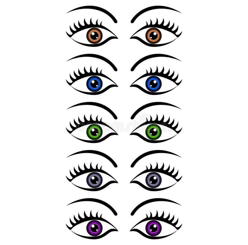 Download Set of womens eyes stock vector. Image of abstract, eyes - 33263371