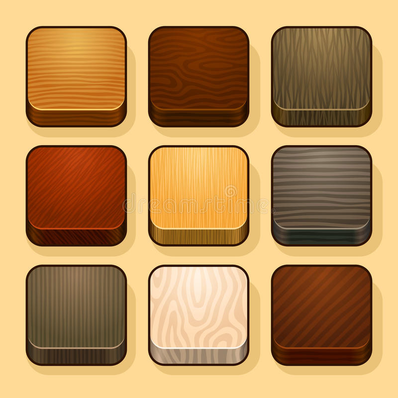 Set of wood ios icons. Set of wood textures. This is file of EPS8 format stock illustration