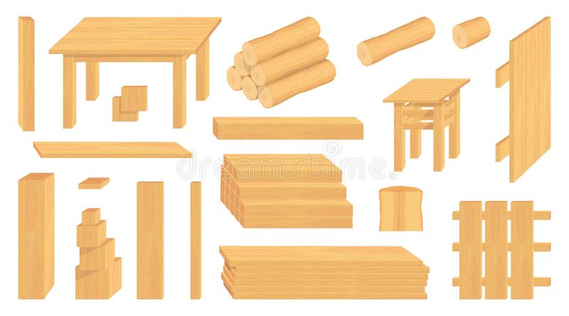 Set of wood logs, trunks and planks. Different wooden crafts. Forestry. Wooden crafts to sell. Wooden fence. Vector graphics to design royalty free illustration