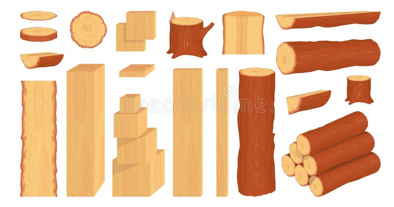 Set of wood logs, trunks, stump and planks. Forestry. Firewood logs. Tree wood trunk. Wood bark and tree log. Firewood and crust. Firewood for sale. Vector stock illustration