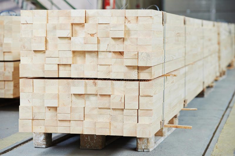 Set of wood lumber materials. Set of Stacked wood pine timber for construction buildings and furniture production royalty free stock photo