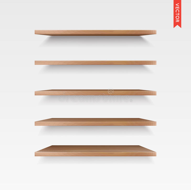 Set of Wood Shelves Vector Isolated on the Wall Background. EPS 10 stock illustration
