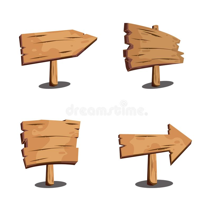 Set of wood signs. Wooden boards, signposts, plates, arrows. Brown planks. Blank wood signboards and banners. Vector illustration royalty free illustration