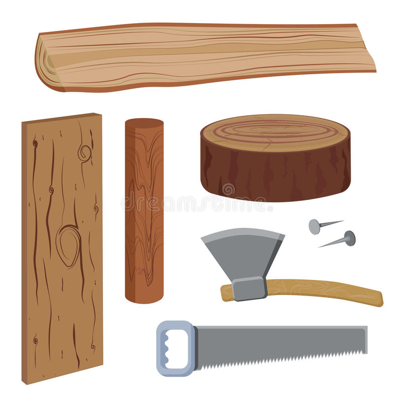 Set wood and tools. Set of wood and tools to work on wood, in a simplified style, with detail. Firewood, Axe, Saw, Nails, Stump. Vector illustration vector illustration