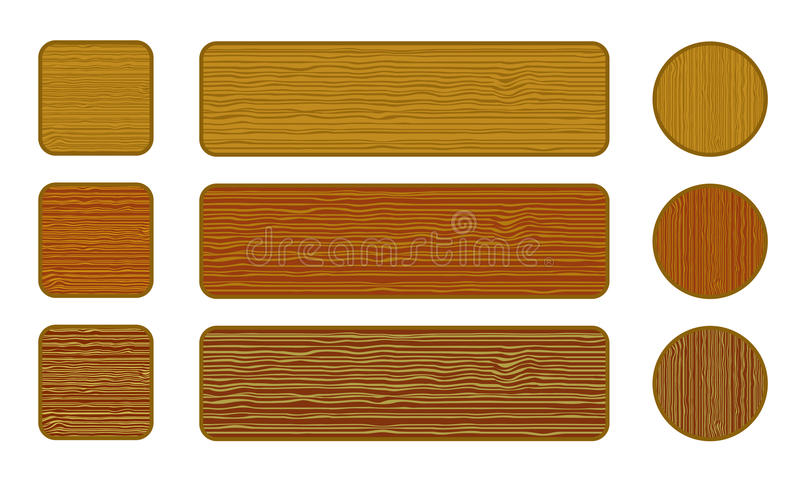 Set of wood web buttons stock illustration