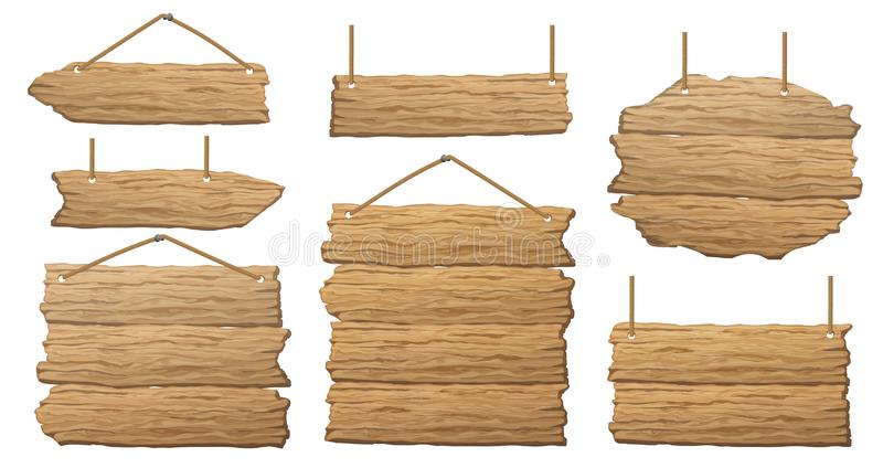 Set of wooden banner, sign posts or boards stock illustration