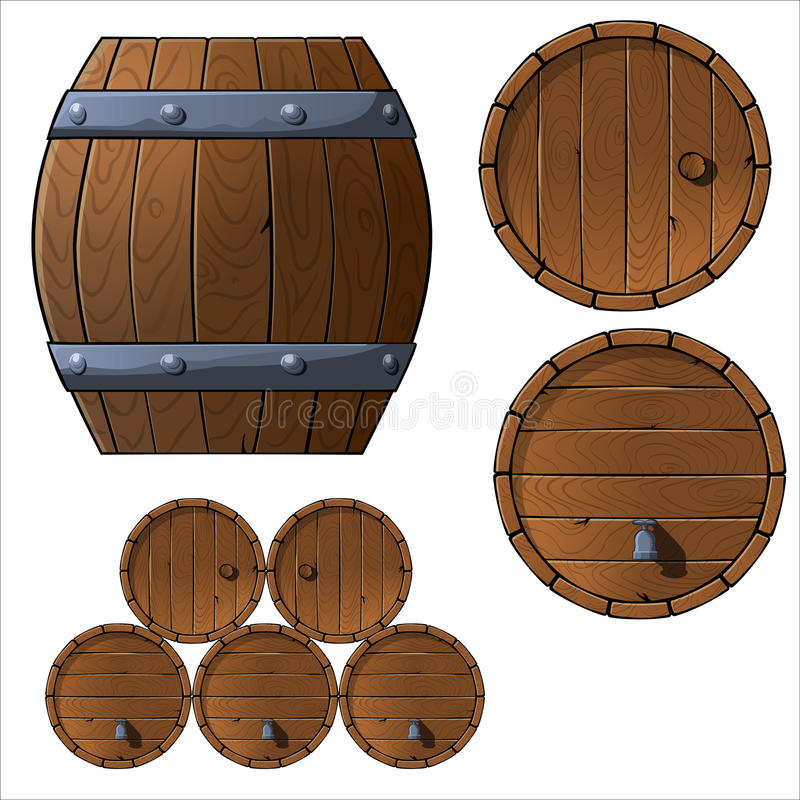 Set of wooden barrels and boxes. Set of wooden barrels. Vector illustration. top view, front view, game asset vector illustration