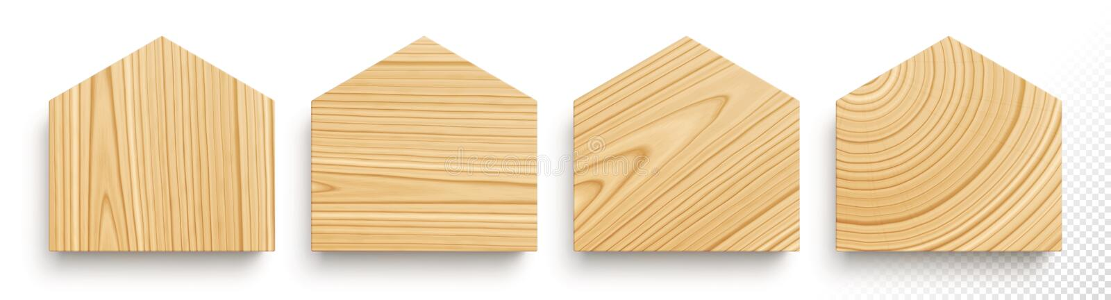 Set of wooden boards in shape of houses with different textures vector illustration