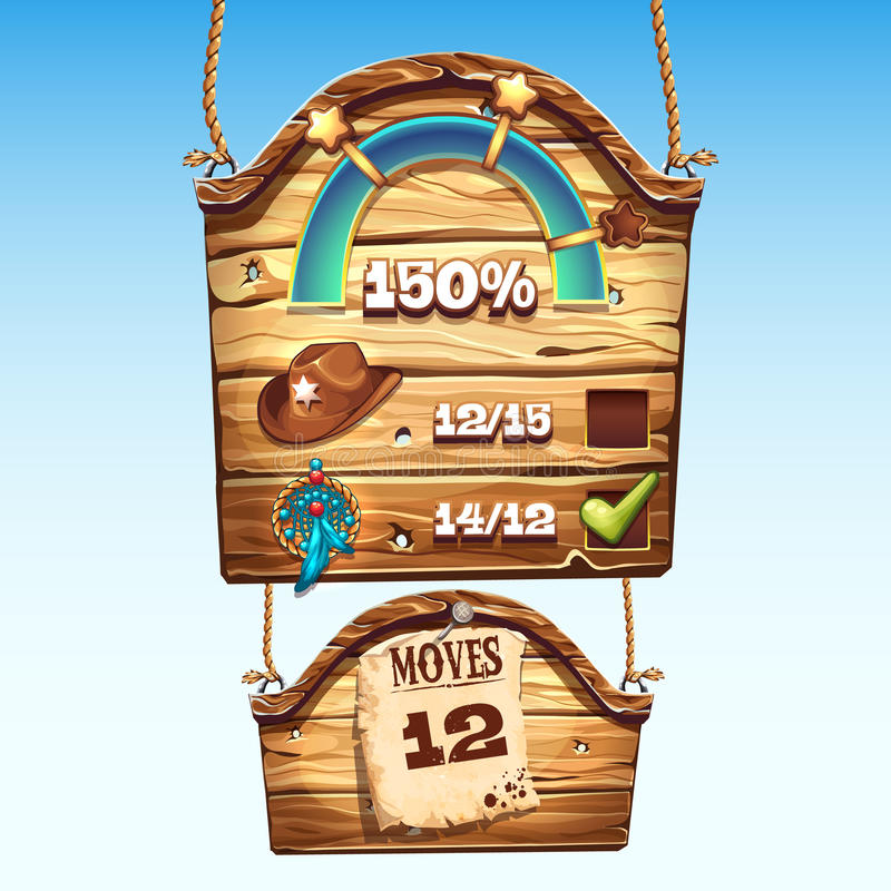 Set of wooden boxes to the user interface for a computer game.  vector illustration