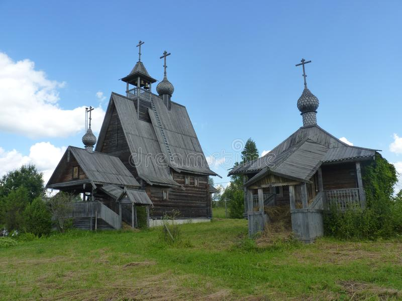 The set of wooden churches of karelians in the midland of Russia royalty free stock image