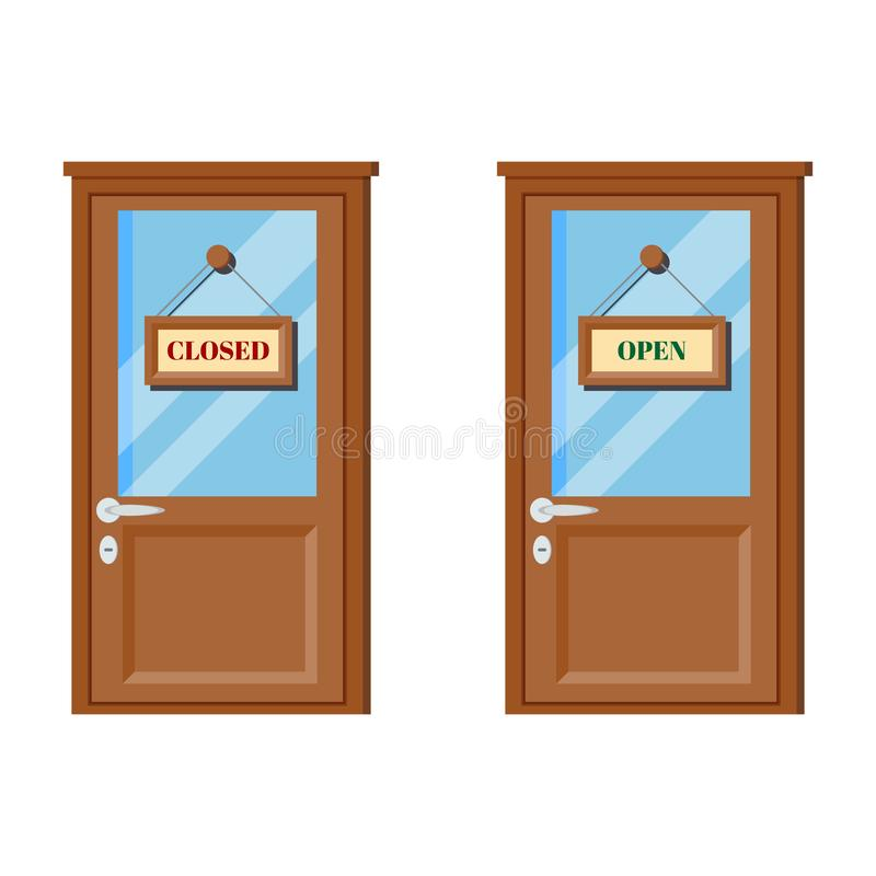 Set of wooden doors with glass, door handle, open and closed business signs vector illustration