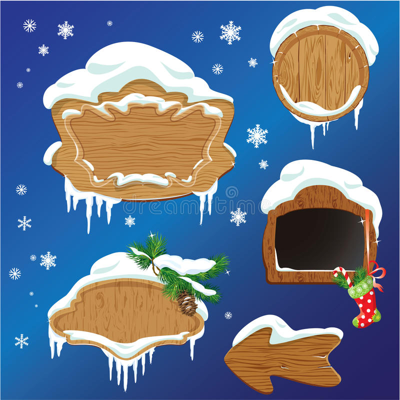 Set of Wooden frames, design elements for Merry Christmas. And Happy New Year holidays royalty free illustration