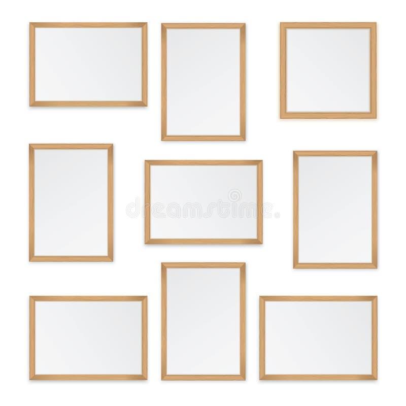 Set of wooden frames. Isolated on white background stock illustration