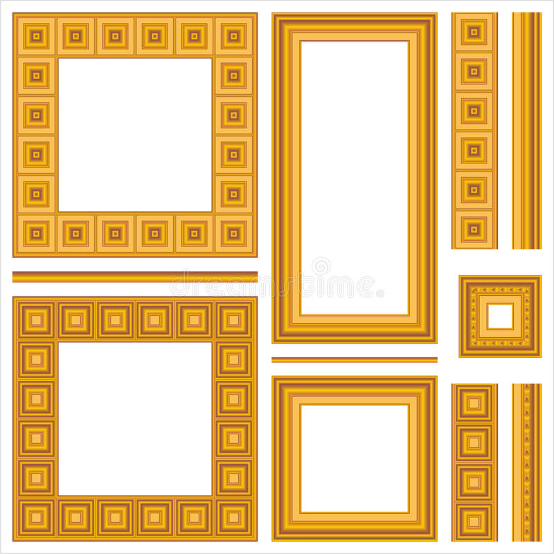 Download Set Of Wooden Frames And Seamless Borders Stock Vector - Image: 25051614
