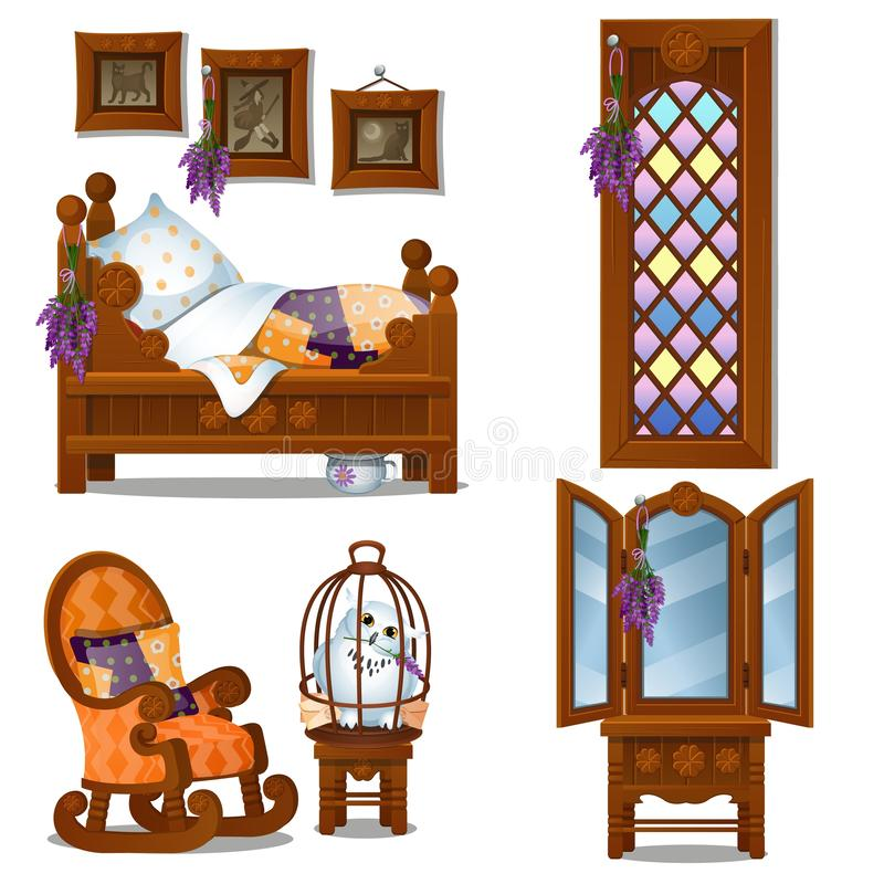 Wood Bed In Cartoon Style. Vector Illustration Stock