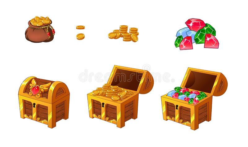 Set of wooden golden chests with coins and diamonds for the game UI. royalty free illustration