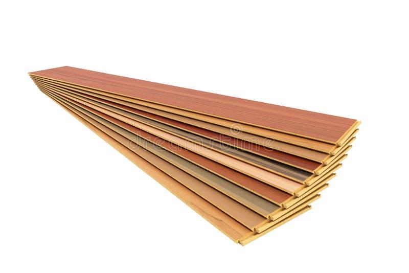 Set of wooden laminated construction planks isolated on white ba stock illustration