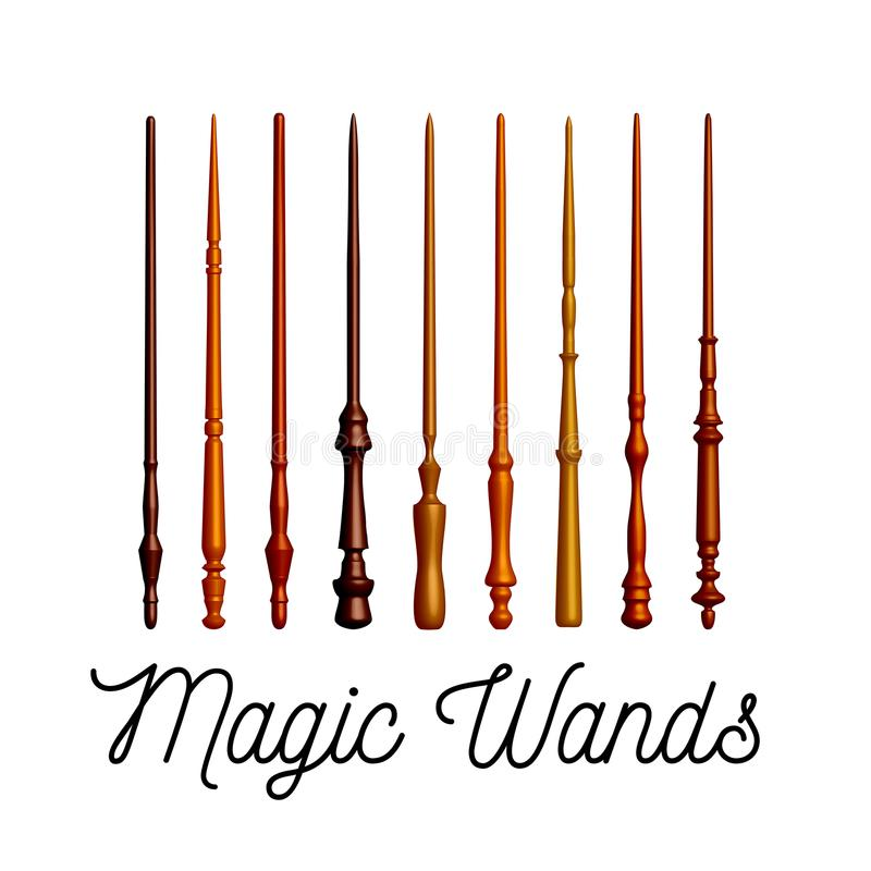 Set of wooden magic wands on white background. Vector royalty free illustration