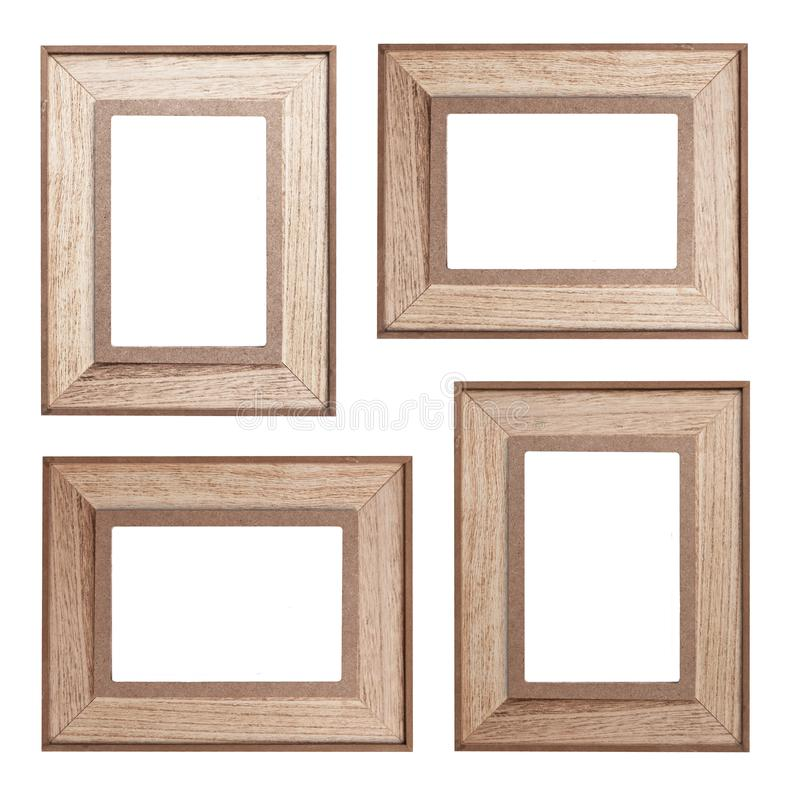 Set of wooden photo frames on white background stock images