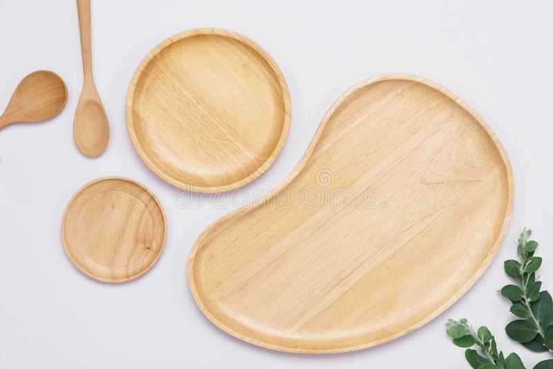 Set of wooden plates on the white background.  royalty free stock images