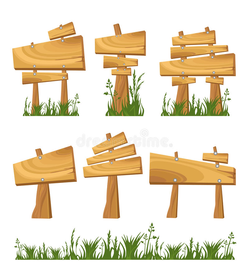 Set of wooden sign. And grass