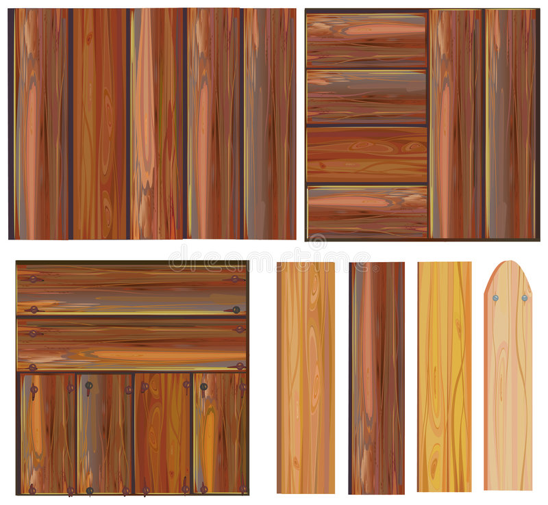 Set of wooden sign, vector royalty free illustration