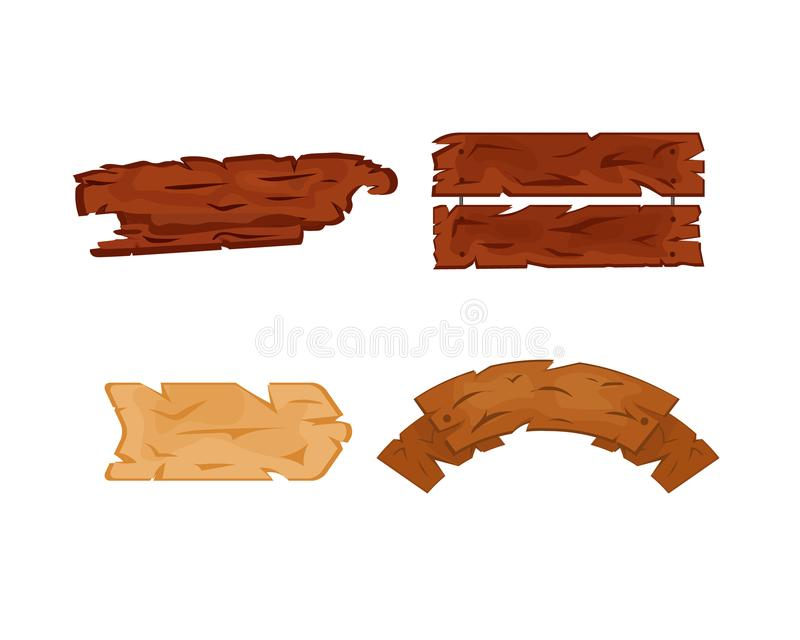 Set of wooden signage, various forms, advertising posters for sale. royalty free illustration