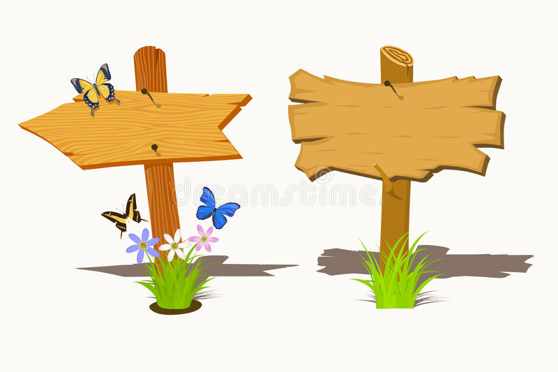 Set of Wooden signboard. With flowers and butterflies. Vector illustration royalty free illustration