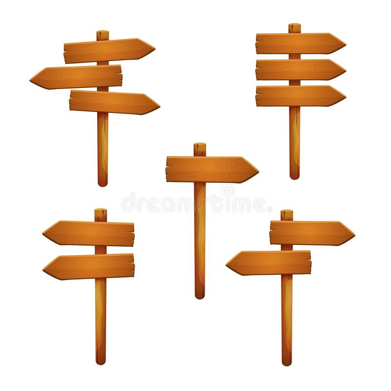 Set of wooden signposts with various arrangement of arrow shaped planks isolated on a white background. Vector royalty free illustration