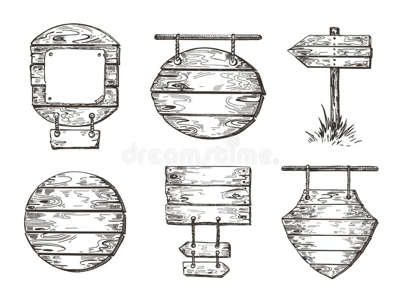 Set of wooden signs. Sketch graphics. Boardwalk backgrounds. royalty free illustration