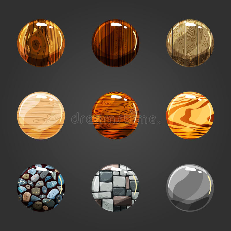 Set of wooden and stone buttons royalty free illustration