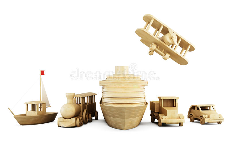 Set of wooden toys - different types of transport. vector illustration