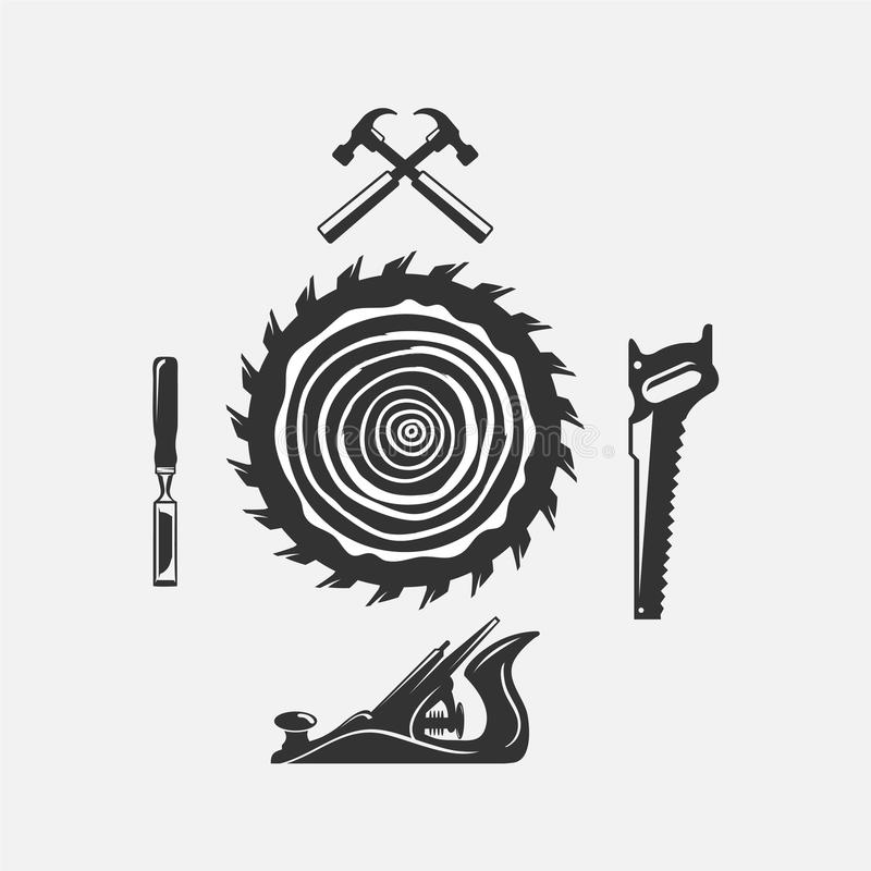 Download Set Of Woodwork Logo With Hammer And Nail On Background For Carpentry Service Stock Vector