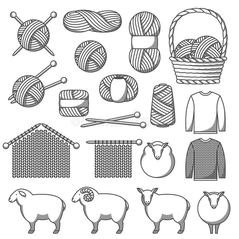 Set of wool items. Goods for hand made, knitting or tailor shop.  royalty free illustration