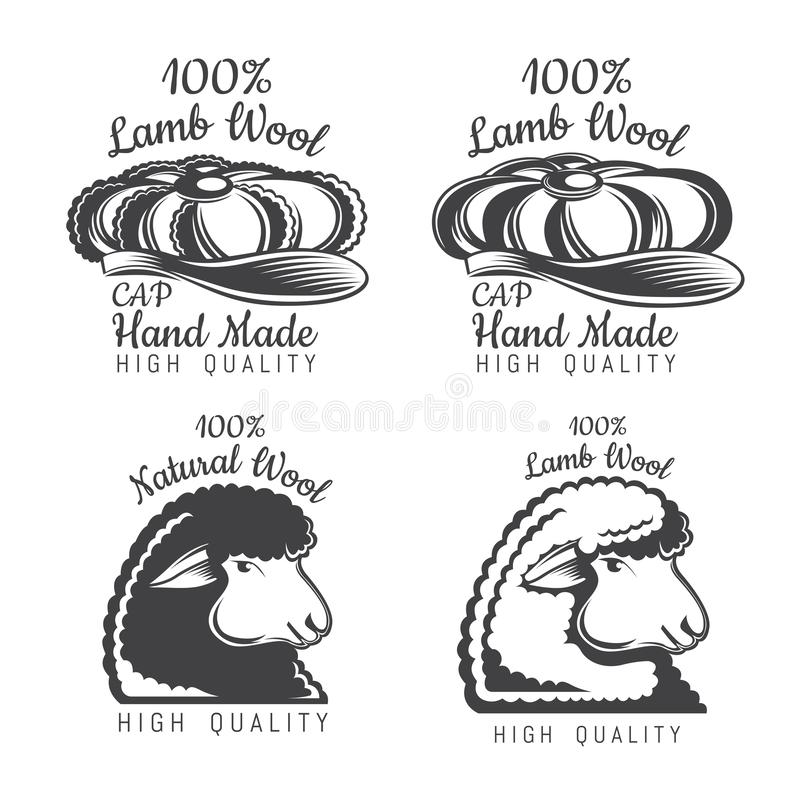 Set of wool labels sheep and tweed cap. Logo for knitted craft related site or business. Set of wool labels sheep and tweed cap. Logo for knitted craft or royalty free illustration