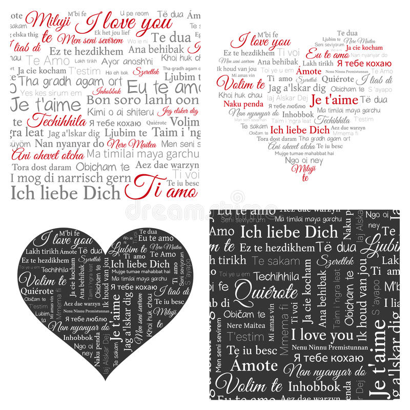 Set of word cloud hearts and seamless backgrounds. Phrase I love you in many languages. royalty free illustration
