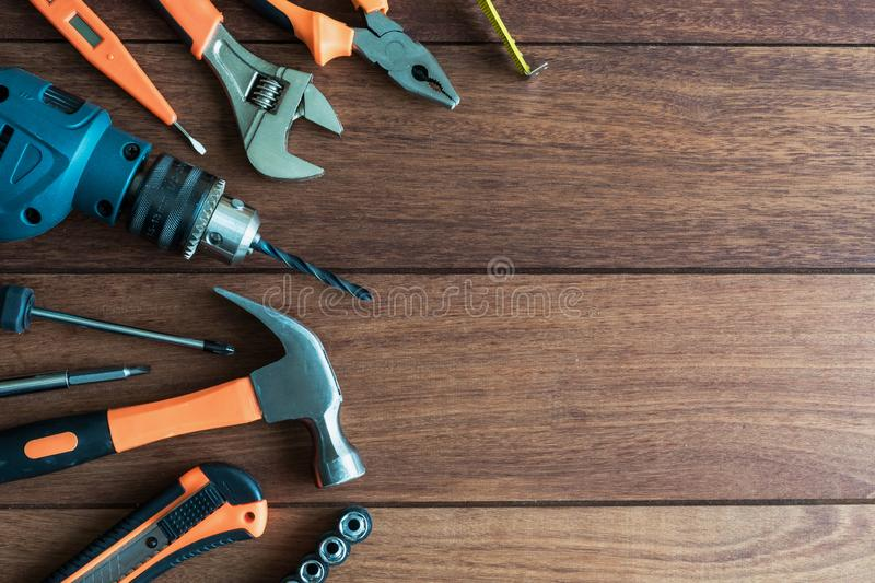 Set of work tools on wooden background. With copy space, Top view royalty free stock photos