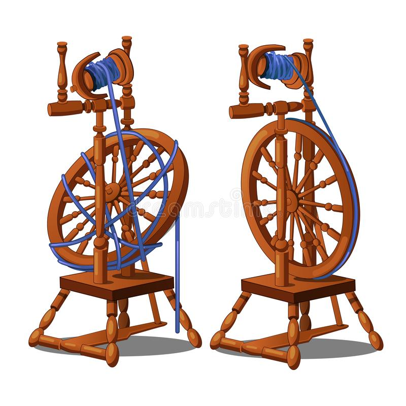 Set of a working and broken antique wooden spinning wheel with yarn and bobbins isolated on a white background. Vector stock illustration