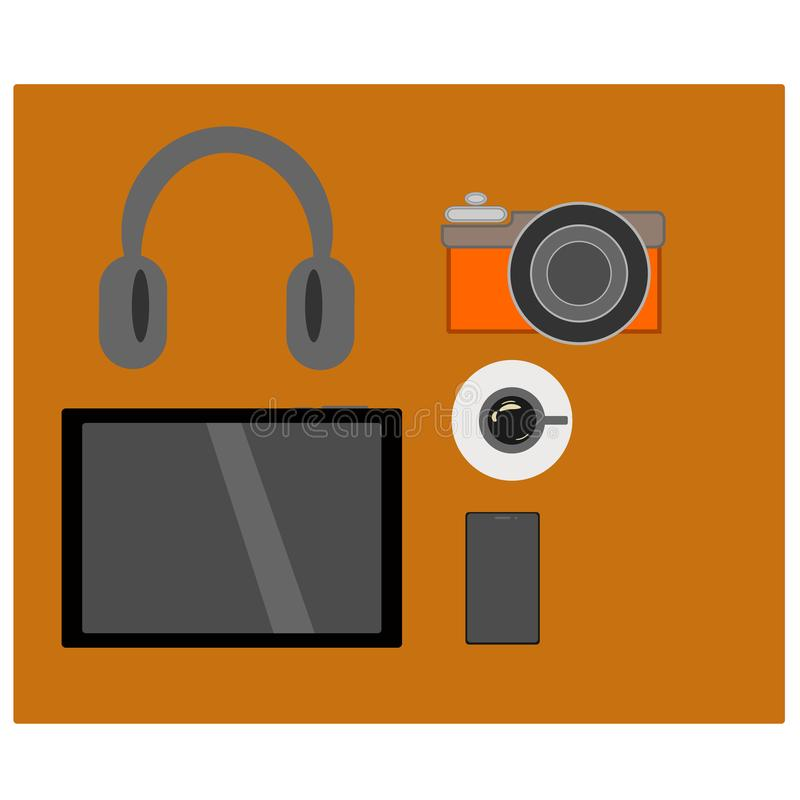 A Set of working outside office tablet, mobile phone, camera headphone and a cup of Americano coffee in vector royalty free illustration